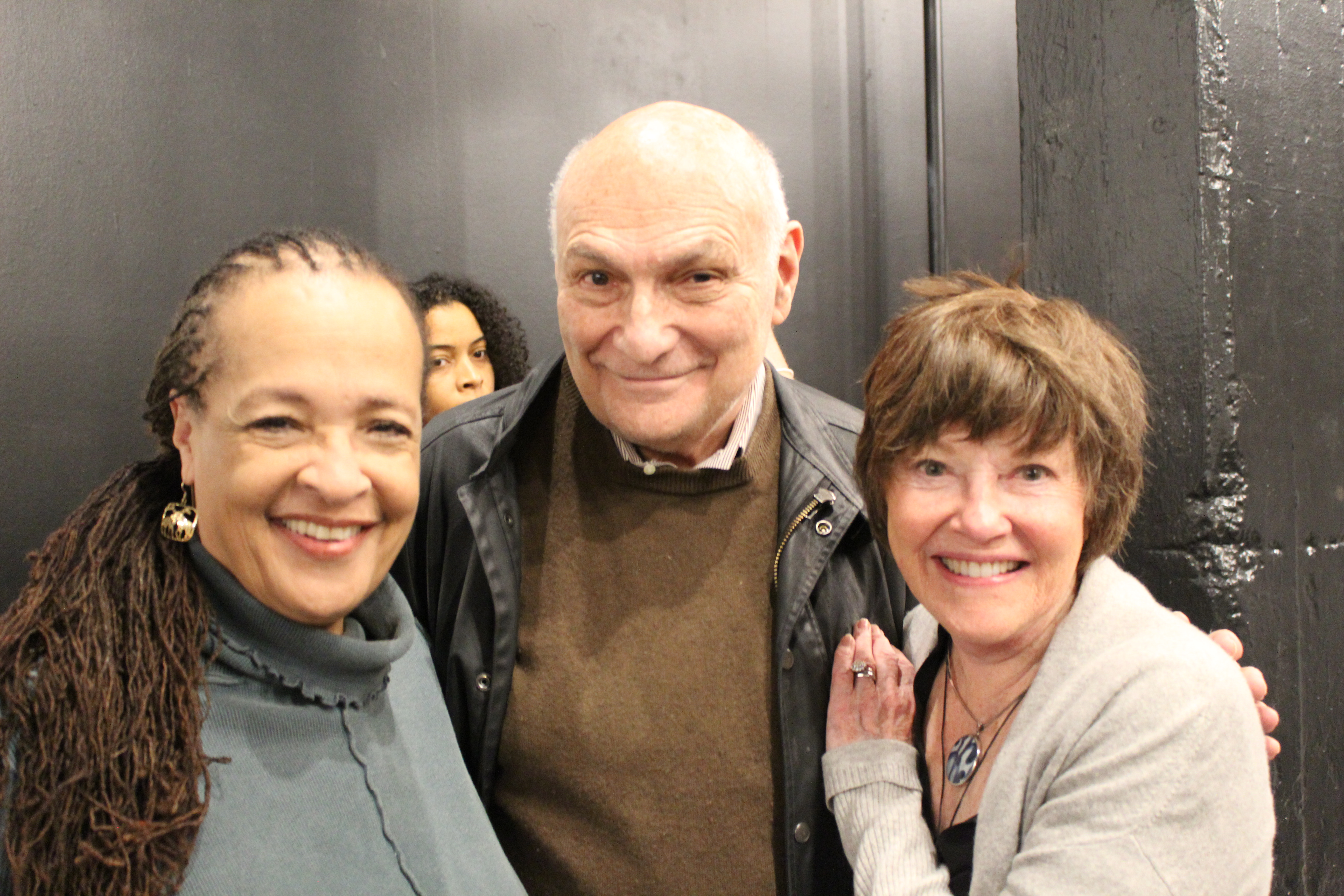 Photo of Franchelle Stewart Dorn (Chorus), Director Michael Kahn and Helen Carey (Chorus) in rehearsal for The Oresteia.