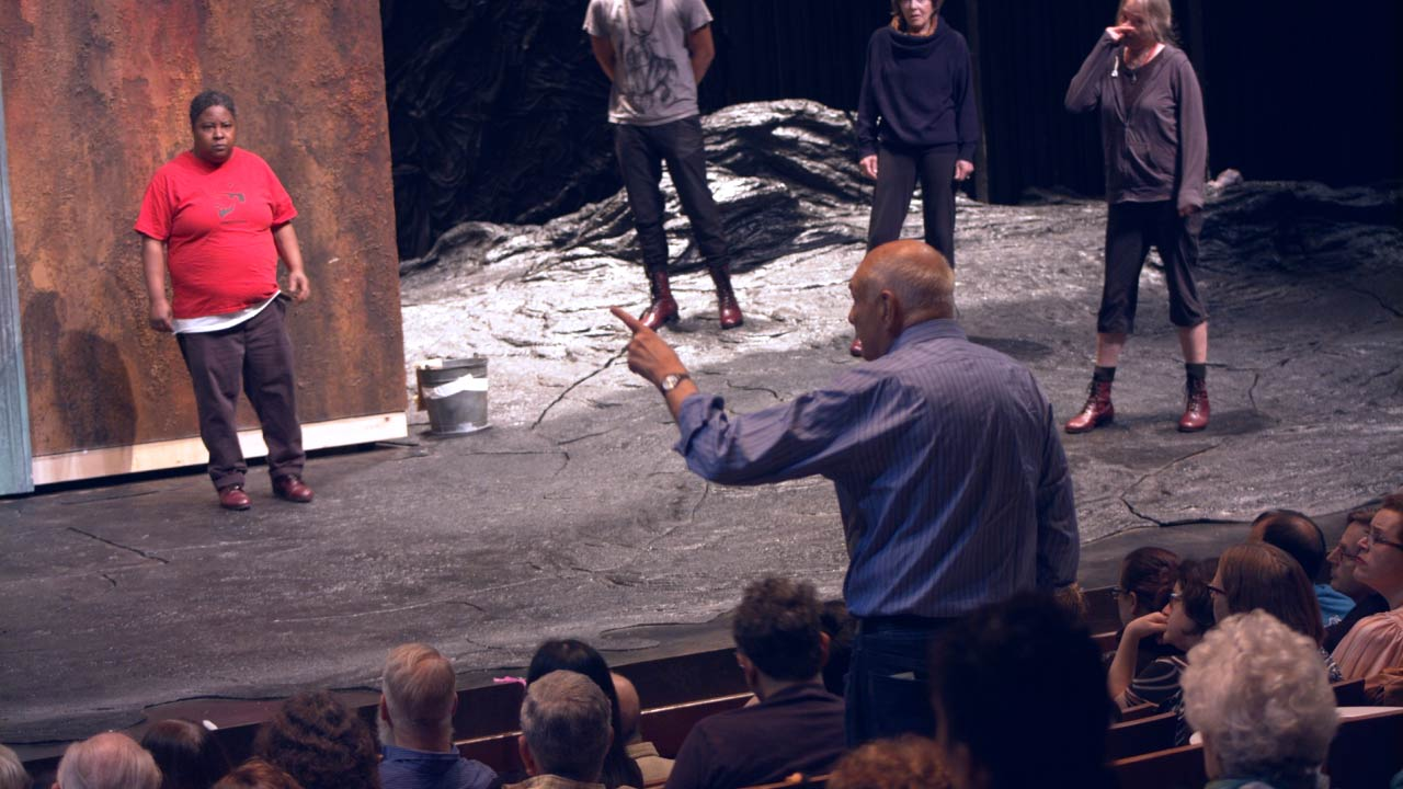 Photo of Patrena Murray (Chorus), Jonathan Louis Dent (Chorus), Michael Kahn (Director), Helen Carey (Chorus) and Kati Brazda (Chorus) in rehearsal for The Oresteia.