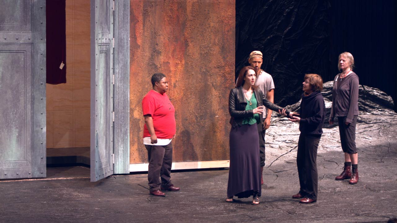 Photo of Patrena Murray (Chorus), Kelley Curran (Clytemnestra), Jonathan Louis Dent (Chorus), Helen Carey (Chorus) and Kati Brazda (Chorus) in rehearsal for The Oresteia.